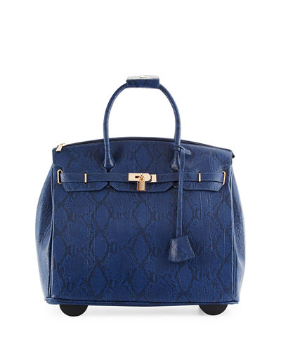 Madison Faux-Leather Snake-Embossed Rolling Bag