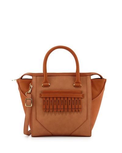 Journee Faux-Leather Tote Bag, Clay Combo