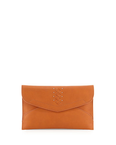 Theia Faux-Leather Clutch Bag