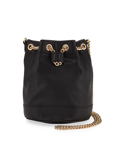 Faux-Leather Chain Bucket Bag