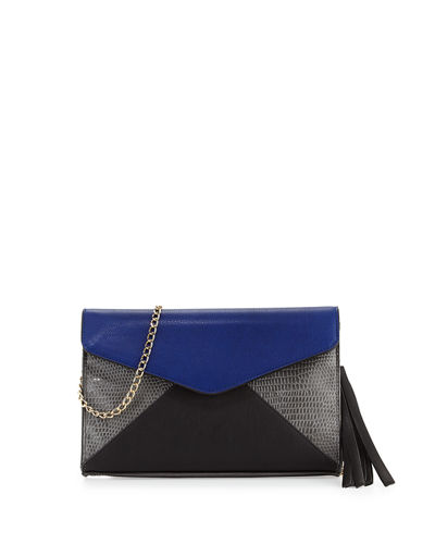 Colorblock Faux-Leather Envelope Clutch Bag