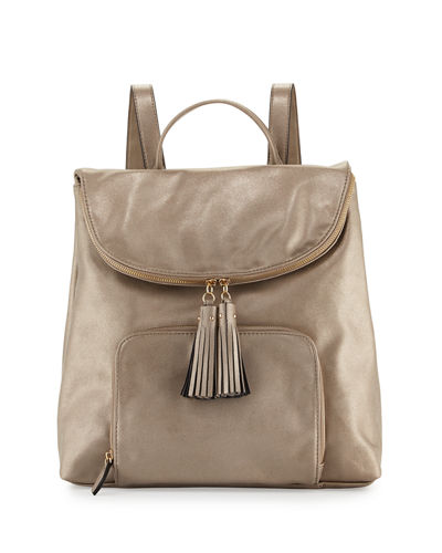 Metallic Faux-Leather Double Backpack