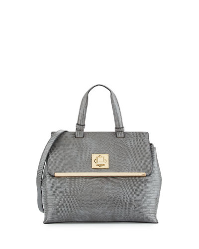 Charlotte Snake-Print Faux-Leather Satchel Bag