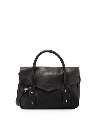 Cargo Pebbled Faux-Leather Satchel Bag