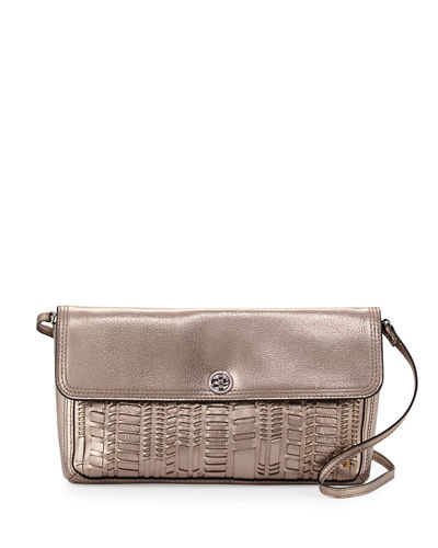 Tristan Metallic Leather Woven Clutch Bag