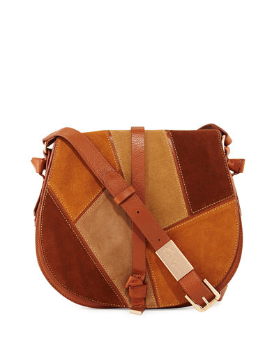 Daisey Patchwork Leather Saddle Bag