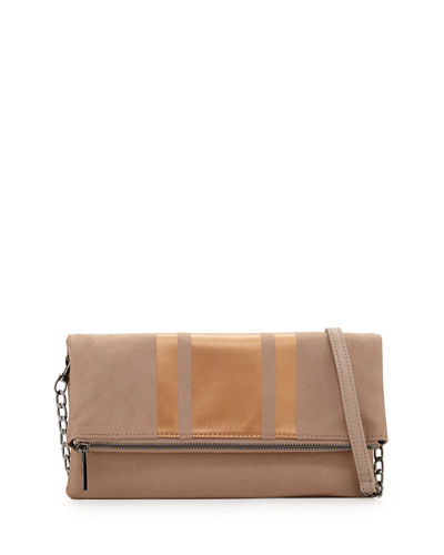 Faux-Suede Fold-Over Clutch Bag