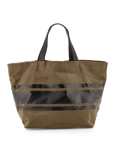 Faux-Suede Striped Panel Tote Bag