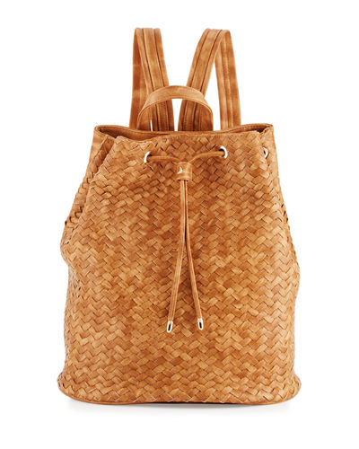 Basketweave Drawstring Bucket Backpack