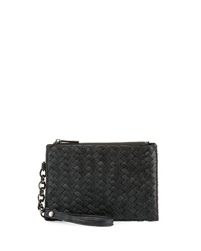 Woven Zip-Top Faux-Leather Wristlet
