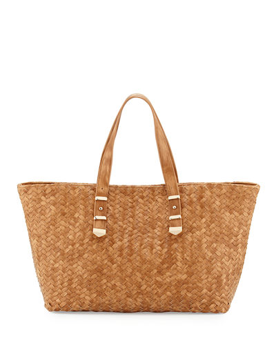 Distressed Woven Leather Tote Bag