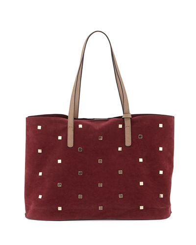 Studded Faux-Suede Tote Bag