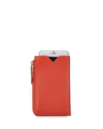 Large Leather Zip-Around Phone Wallet