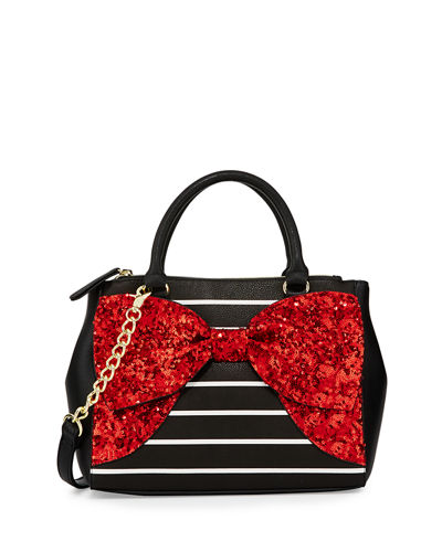 Fancy Bow Sequined Satchel Bag