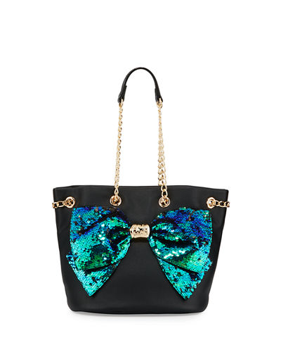 Bow-Lesque Sequined Drawstring Bucket Bag
