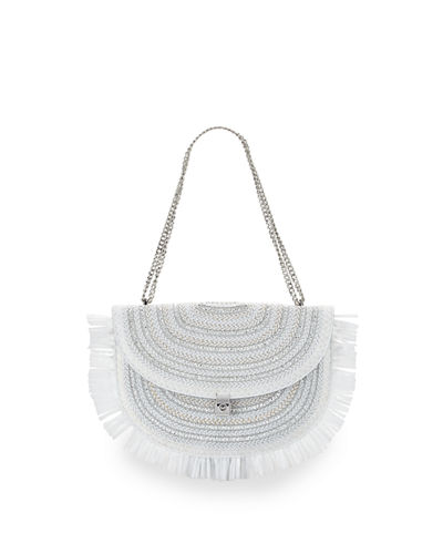 Tiki Fringe Straw Chain Pouch Bag