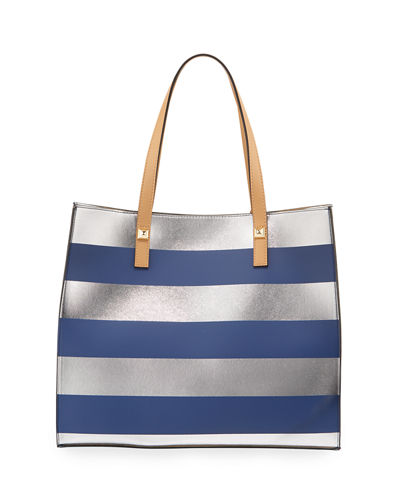 Brigitte Metallic Striped Tote Bag