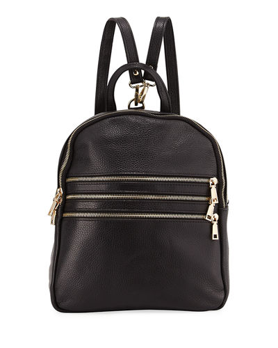 Triple-Zip Leather Backpack