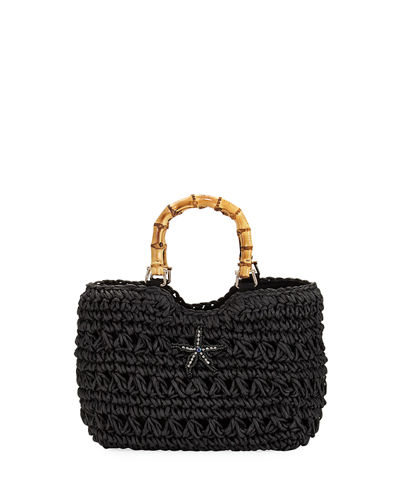 Starfish Bamboo-Handle Straw Tote Bag