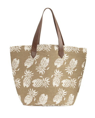 Pineapple-Print Straw-Lined Tote