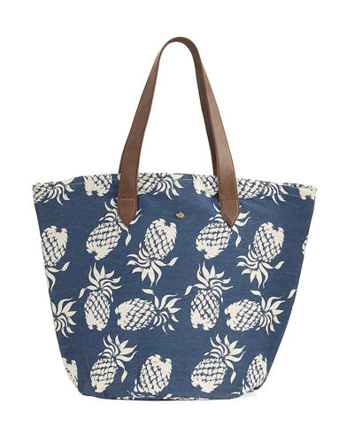 Pineapple Print Straw Lined Tote