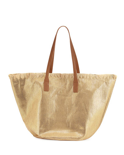 Lurex Straw Tote Bag