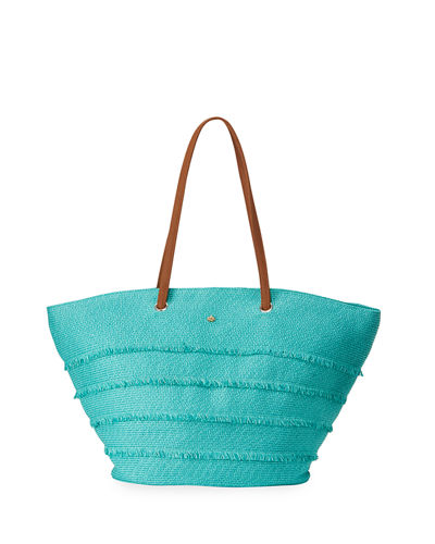 Paper-Braid Striped Straw Tote