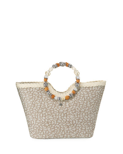 Beaded Ring Animal-Print Straw Tote Bag