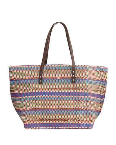Paper Braid Striped Straw Tote