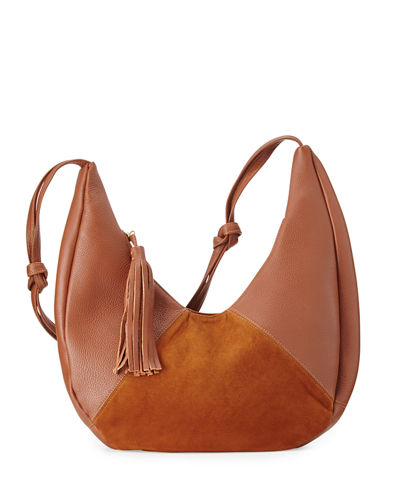 Cezy Leather and Suede Hobo Bag