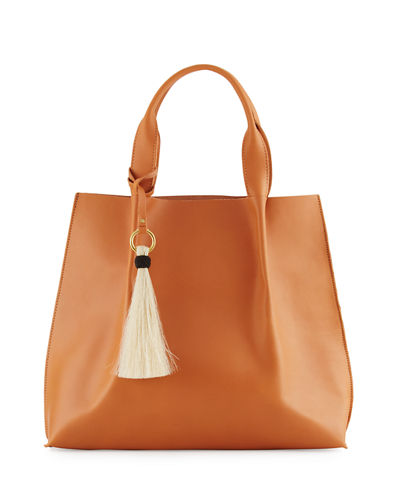 Maggie Leather Tote Bag with Horsehair Tassel