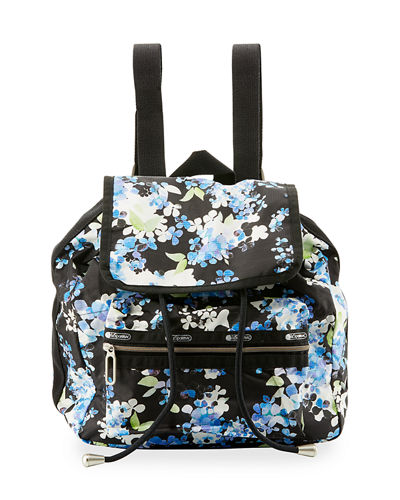 Mini Voyager Flap-Top Backpack, Black Pattern