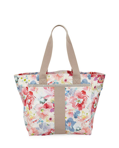 Everyday Floral Print Nylon Tote Bag