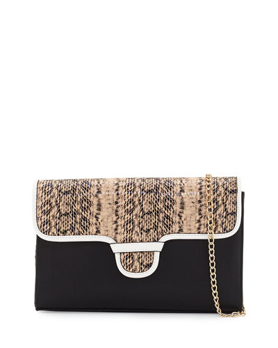 Rory Snake-Embossed & Colorblock Clutch Bag