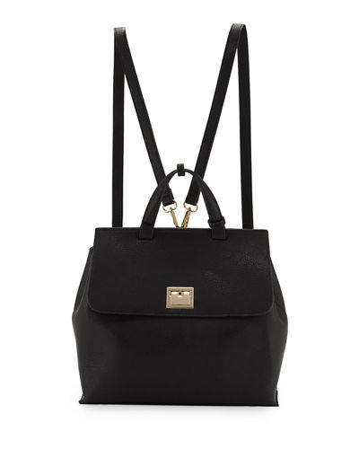 Bess Flip-Lock Faux-Leather Backpack