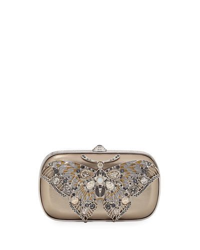 Soft Sided Rectangle Clutch With Butterfly