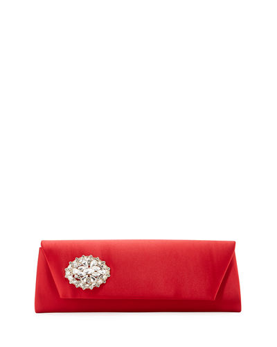 Cape Satin Embellished Clutch Bag