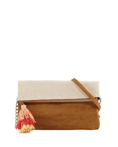 Metallic Canvas Fold-Over Clutch Bag