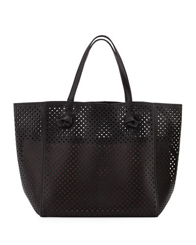 Perforated Faux Leather Tote Bag