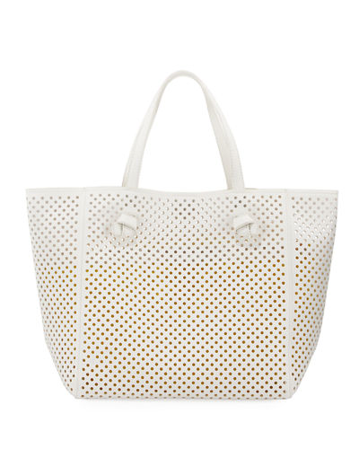 Perforated Faux-Leather Tote Bag