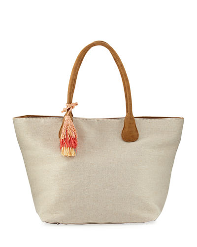 Metallic Canvas Straw Tote Bag