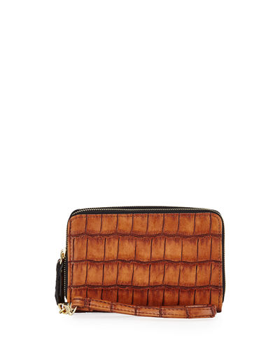 Crocodile-Embossed Dual-Zip Wristlet
