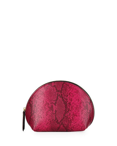 Snake-Embossed Large Dome Cosmetic Bag