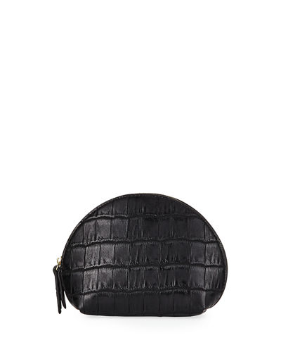 Crocodile-Embossed Medium Dome Bag