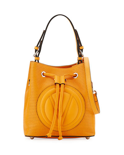 Leon Perforated Leather Bucket Bag