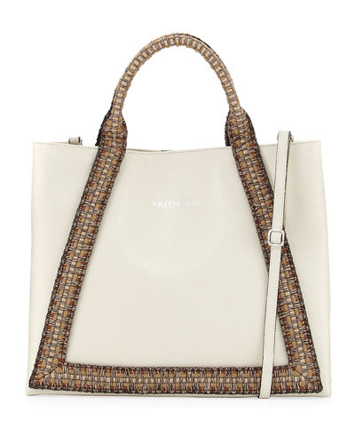 Adele Saffiano Leather Woven Rope Trim Tote Bag