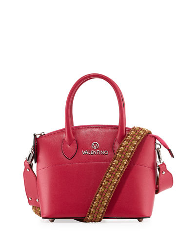 Bravia Saffiano Leather Woven Strap Mini Tote Bag