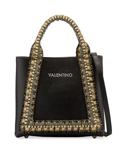 Audrey Saffiano Leather Woven Rope Trim Tote Bag