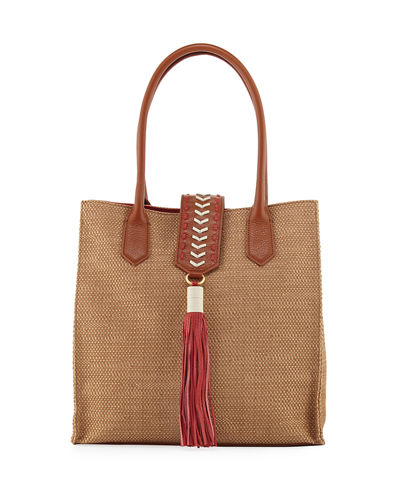Bailey Straw Tote Bag w/Leather Trim