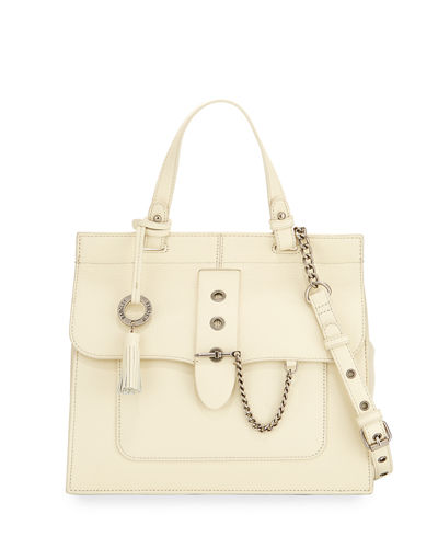Beulah Leather w/ Chain Detail Satchel Bag